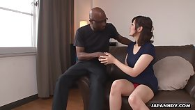 Nerdy bald black girder enjoys cute Japanese tolerant Tomoka Sakurai flashing her cunt