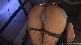 Kinky Japanese mature Risa Mizuki gives rimjob plus a blowjob