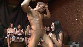 Unpremeditated dark stripper gets used by some raunchy white ladies