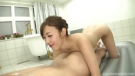 Deep bathroom orgasms and heavy sexual congress for a thin Japanese on dash