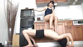 Tsuna Nakamura naughty teen dominates relating to the scullery