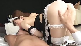 Lad fucks Japanese maid in a difficulty pussy after gagging her
