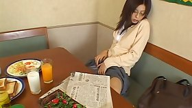 Solo Japanese chick Noa moans while rubbing her tight scruffy pussy