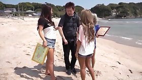 Accidental coxcomb gets his dick pleasured by three horn-mad Japanese models