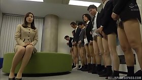 Aroused Asian babe fucked by the guys from the office