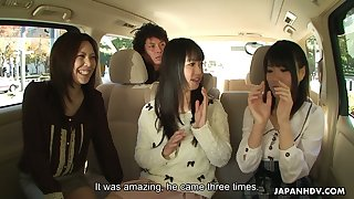 Asakura Kotomi and two more dark haired Jap gals share dick for a nice blowjob