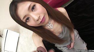 Lusty Japanese blowlerina Aya Sugiura is made to work on afflicted dicks