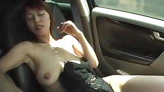Cheating JAV wife saggy tits car masturbation Subtitled