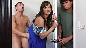 Busty MILF seduces her stepson's shy friend